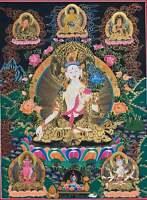 Hand-painted White Tara Tibetan Thangka Art on Canvas, 22 x 28-inch