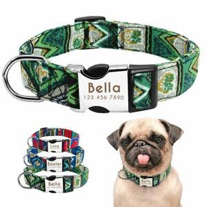 Custom Pet Dog Collar Personalised Nylon Collar Name Engraved For French Bulldog