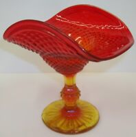 Vintage Jeannette Glass Amberina Diamond Point Flared Ruffled Compote