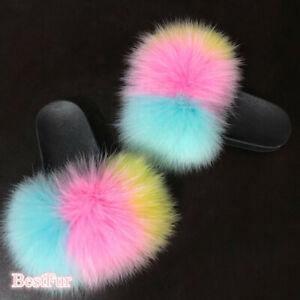 Women's Slides Real Fox Fur Slippers Sandals Indoor Outdoor Sliders Furry Shoes