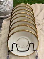 Vintage Original Lenox ETERNAL China Ivory Gold Band Coffee Tea Saucers