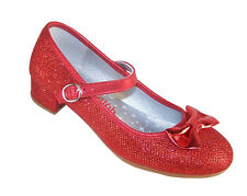 Girls Red Sparkly Glitter Party Heeled Shoes Dorothy WOZ Bridesmaid Occasion UK 12 Kids