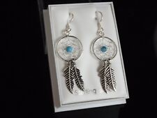Dreamcatcher Drop Earrings Sterling Silver 925 & Turquoise Teacher Exam Gift Box