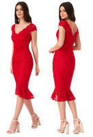 Goddess Red Ruched Lace Frill Hem Fitted Cocktail Party Evening Dress RRP £55