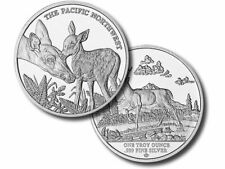 1 oz Buck Round .999 Fine Silver Bullion White Tail Deer Doe Fawn *CAPSULE*