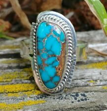 ~Navajo Signed J.S. Indian Mountain Turquoise Sterling Silver Ring~Size 7~