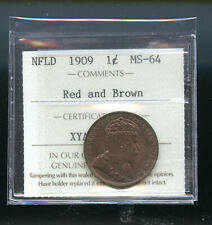 1909 Newfoundland Large Cent ICCS Certified MS64 RB IC14