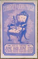 PJ HARVEY & JOHN PARISH 2009 Gig POSTER Portland Oregon & Seattle Wash. Concert