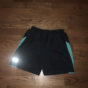 """Men's Under Armour Launch Heat Gear 7"""" Black Green Lined Running Shorts Fitted M"""
