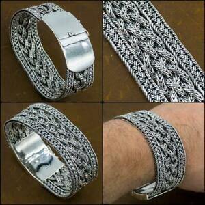 """9.5"""" 24.2cm 128g EXTRA WIDE WOVEN BRAIDED 925 STERLING SILVER MENS BRACELET"""