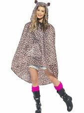 Ladies Teens Leopard Poncho Showetproof Festival Concert Hen Party Costume Fun