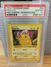 PSA 10 GEM MINT Pikachu Red Cheeks Pokemon Base Set Shadowless 58/102