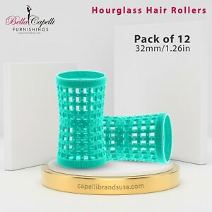 Pack of 12 - Aqua 32mm/1.26in - Hourglass Rollers Unisex (Pins not included)