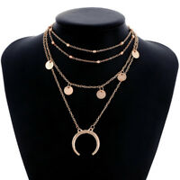 Double Horn Crescent Moon Charm Pendant Multi Layer Necklace Gold Chain Jewelry