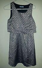 NWT CYNTHIA Cynthia Rowley Sleeveless Layer Dress Black & Silver size 2 Zip side