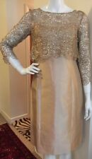TERI JON RICKIE FREEMAN DRESS SIZE 4 GOLD with Lace Jacket NEW NWT! $240+