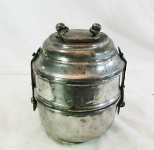 Antique Copper Hand Forged Lunch Box, Hammered Vintage old Two Compartments Box