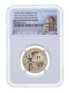 2015 W $1 Sacagawea MOHAWK IRONWORKERS Dollar NGC SP70 Enhanced Finish *0288
