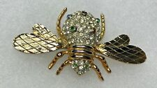 Vintage CRAFT Signed Rhinestone Ruby Sapphire Bee Fly Insect Brooch Pin