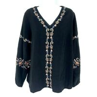 J. JILL Floral Embroidered Peasant Blouse Petite MP Tunic Top V-Neck Crepe Black