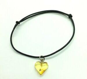 Amber Heart Bracelet with Leather Adjustable Strap