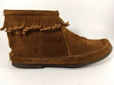 Fringe Moccasins Suede Leather Ankle Height Brown Women's 7 Booties Back Zip