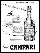 PUBBLICITA' 1957 CORDIAL CAMPARI BOTTIGLIA DRINK BAR DESSERT THE AMICI OSPITI