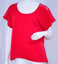 CENTRAL PARK WEST Red Shoulder LACE Top BLOUSE Small $140+ Free Shipping