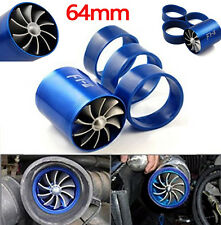 BLUE SUPERCHARGER DUAL DOUBLE TURBONATOR AIR INTAKE FUEL SAVER TURBO CHARGER FAN