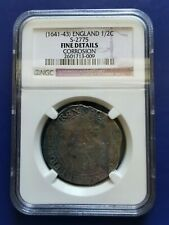 1641-1643 GREAT BRITAIN 1/2 Half Crown Silver Coin King Charles I NGC F-Details