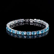 Bracelet with 8.45ctw Light Blue & White Sapphire in 14K White Gold Filled