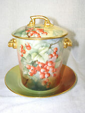 T & V Limoges Hand Painted Currants CONDENSED MILK CONTAINER, Plate & Lid