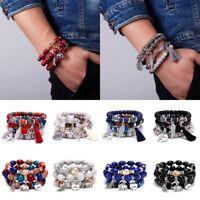 Boho Multilayer Natural Stone Crystal Bangle Bohemia Women Beaded Bracelet Gift