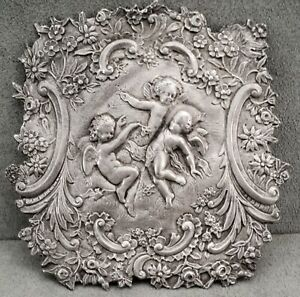 Antique VICTORIAN Flower CHERUBS Swags STERLING Silver Repoussé PLAQUE Embellish