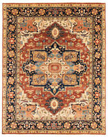 "Hand-knotted Carpet 8'0"" x 10'2"" Bordered, Geometric, Traditional Wool Rug"