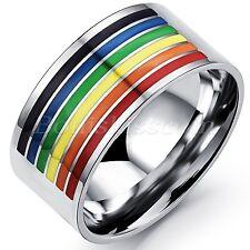Herren-Ring Damen-Ring Regenbogen Farbe Streifen Homosexuell Gay Pride Edelstahl