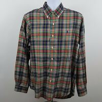 Ralph Lauren Custom Fit Red Green Blue Check Plaid Mens Dress Shirt Large L