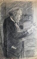 """Zeichnung Skizze Studie Bleistift """"Schreibender Mann"""" Portrait Porträt 29 x 45"""