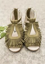 Joyfolie DELIA IN OLIVE sz 12t Boho Girls fringy Sandals Fall Shoes