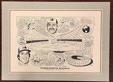 Montreal Olympic Stadium Artist Print Cartoon of Baseball 16x20