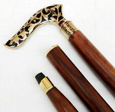 Solid Brass Black Flower Design Handle Antique Style Wooden Walking Stick Cane