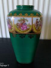 Vintage Bavaria Green Gilt Courting Couple Vase signed Fragonard 17. 0 x 10cm ap