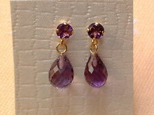 Exclusive Amethyst Ohrstecker in 14 Kt. Gold - 585 - Brillant & Briolett Schliff