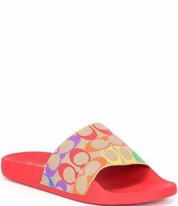 COACH Udele Sport Pool Slides Tan Multi Logo Women's Size 10 NEW IN BOX