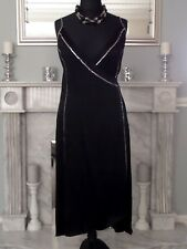 PLANET GORGEOUS BLACK SILK BLEND EMBELLISHED STRAPPY WRAP STYLE DRESS SIZE 16