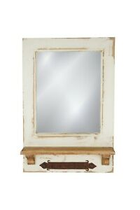 Dos Santos Mirror-Key Holder-Farmhouse-Primitive-16x24 in-Rustic-Wood-Wall-White