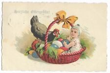 Easter child with eggs in basket and rooster litho H0016