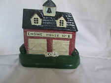 Cast Iron Firehouse Engine House #1 & Dalmatian Dog Door Stop Made in Maine