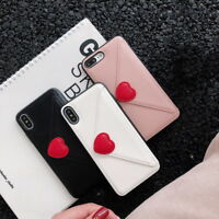 Envelope Heart Wallet Card Pocket Case Cover For iPhone XR XS Max X 8 7/6s Plus