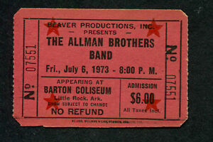 1973 Allman Brothers unused full concert ticket Little Rock Brothes and Sisters